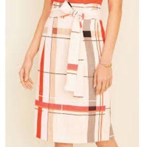 NWT Ann Taylor plaid tie waist pencil skirt 14